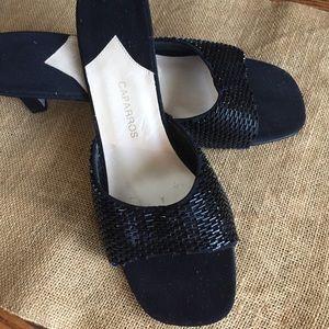 Caparros  Beaded Dress Sandals Kitten Heels Sz 9 B